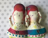One left in stock -Alice in Wonderland Tweedle Dee and Tweedle Dum Circus as Twins Art Plush Doll Handmade and Painted OOAK- ready to ship