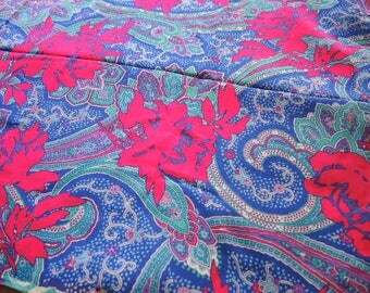 Vintage rayon fabric abstract floral paisley BTY