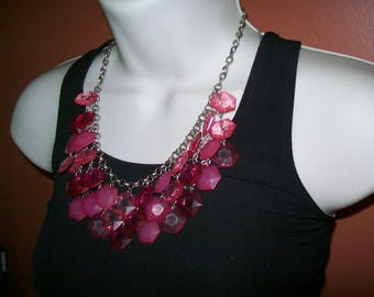 SALE Pink Beaded bib necklace statement necklace, bead necklace