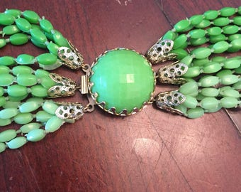 Necklace Multi Strand Beads Ombre Green Costume Jewelry