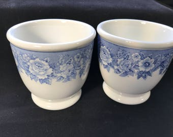 Shenango, custard cup, egg cup, vintage, restaurant ware, diner, blue and white, floral, set of two