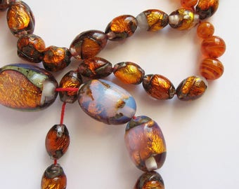Vintage Venetian Foiled Glass Beads Opalescent - Opaline and Amber Glass Beaded Necklace