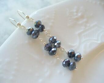 Black Earrings, Long Dangle Earrings, Black Sparkle Crystal Glass Earring, Sterling Silver Jewelry, Womens Jewelry, Silver Earring