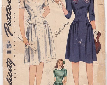 """RARE 1940s Sweetheart Dress Vintage Sewing Pattern, Simplicity 4876, Size 15, Bust 33"""", Complete Unprinted"""