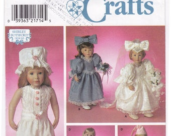 FF Simplicity 8209 Pattern, 18 inch Doll Clothes Sewing Pattern, Doll Bridal Gown, Nightgown, Robe, Pantaloons and Cap, 1990s UNCUT