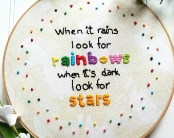 When It Rains Quote, Wood Embroidery Hoop, Home Decor, Inspirational Gift, Embroidery Quote Wall Decor,Rainbow pattern