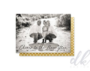 Single/Double Sided Custom Photo New Years Card- Cheers to the New Year (2018)