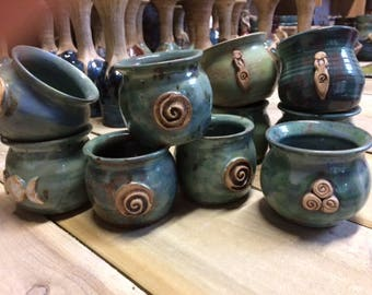 Little Cauldron Pots in Ceramic with symbols of Awen, Goddess, Triple Moon, Spiral and Triple Spiral
