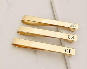 GOLD Tie Clip, brass, Groomsmen,Skinny Tie clip, short, Groomsmen tie clip, Wedding, Custom Tie Clip, gift for him, dad, gift for boy friend