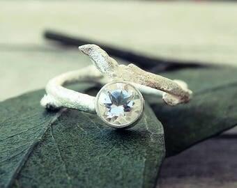 Twig ring, twig engagement ring, promise ring, elf ring, elvish ring, topaz ring, silver twig ring, tree branch ring, white topaz ring