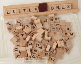 Lot of 100 tiny Scrabble Tiles 1/2 inch squares