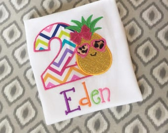 Two-tti Fruity second birthday shirt, fruit birthday, tutti fruity party, pineapple shirt, girls birthday