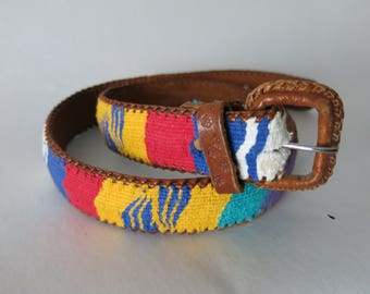 Aztec Patterned Southwest Embroidered Leather Belt