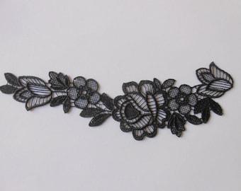 Applique lace black 20 x 7 cm