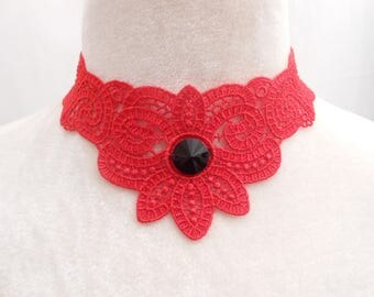 Black lace necklace with Swarovski crystal stone.