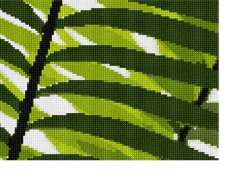 Needlepoint Kit or Canvas: Green Leaf