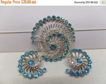 ON SALE Beautiful ORA Signed Vintage Art Deco Crystal Brooch Set