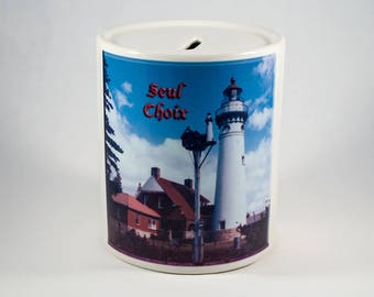 Coin Bank, Seul Choix Michigan Lighthouse Design, Artistic, Blue, White, Photograph