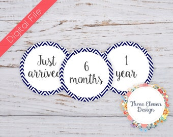 Blue Chevron Printable Monthly Stickers