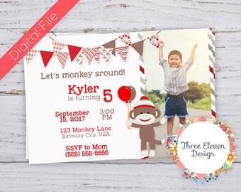 Sock Monkey Printable Birthday Invitation