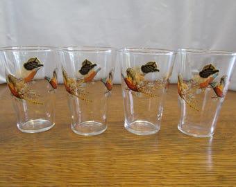 Vintage Set of Small Pheasant Glasses