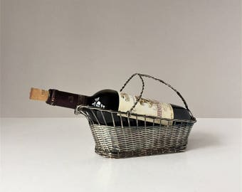 Silver Plated Wine Basket, Vintage Bottle Carrier Caddy, Woven Metal Basket, Wine Serving Basket, Handmade Wire Basket, For The Wine Lover