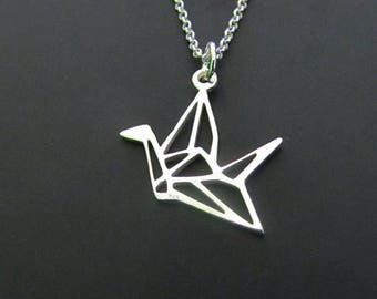 Origami Crane Necklace, Sterling Silver Necklace, Geometric Necklace, Charm Necklace, Jewelry, Gift for her