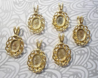 6 Goldplated 8x6mm Oval Fancy Edged Settings