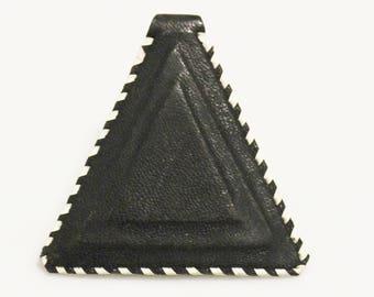 Black African Triangle Leather Pendant, Unique Jewelry Supplies, Mali Tuareg Pendant (AL272)