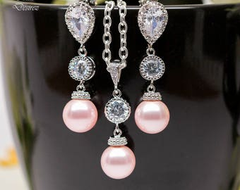 Pearl Jewelry Set Pink Earrings and Necklace Set Bridesmaid Gift Swarovski Pearl Wedding Jewelry Blush Pink Earrings CZ Jewelry Set P44JS