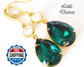 Emerald Green Earrings Bridal Earrings Swarovski Green Earring Cubic Zirconia 16k Gold Plated Setting Bridesmaid Gift Wedding Jewelry EM31HC