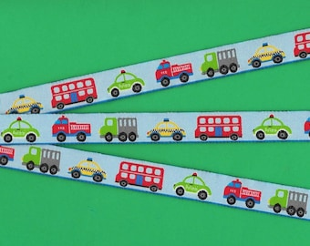 """Jacquard Ribbon Trim, Polyester, 5/8"""" Wide, NOVELTY, from Germany, Blue Background with an Assortment of Vehicles,  Priced Per Yard"""
