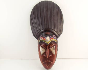 African Wooden Mask / Wood Hand Carved / Made in Ghana / Home Decor / Bohemian / Eclectic