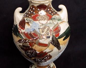 Fine Antique Japanese Satsuma Vase Warrior Asian Art Raised Enamel Stoneware Earthenware Pottery - Ornate Chinoiserie Decor