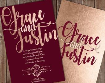 Burgundy and Blush Wedding Invitations, Burgundy Wedding Invitation, Burgundy and Rose Gold Wedding Invitation, Rose Gold Wedding Invitation
