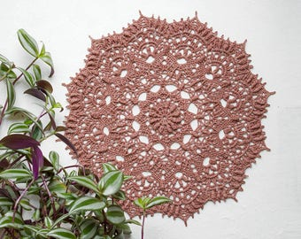 Crochet doily, Stylish home decor in pink-brown color, handmade doily, Linen crochet doily, tea ceremony doily