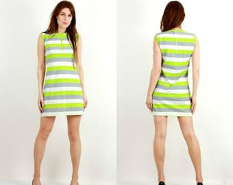 SALE Vintage Striped Mini Dress