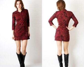 SALE Vintage Burgundy Oriental Mini Dress Falsh Size M