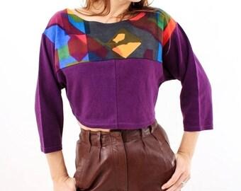 25% OFF Vintage Crop Top / Design Monica Hallberg / Crop Top / Woman Top / Abstract Top / Cropped Tee