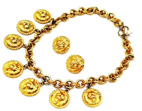 Anne Klein Lion necklace  Earring -  Chunky Gold - Dangle lion Coins - Pierced stud earrings - Jewelry Set