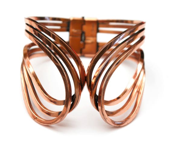 Renoir Copper Bangle - Hinged Bracelet - wide wire  - Scroll  Rhythm-  bangle cuff  - Mid century Mod