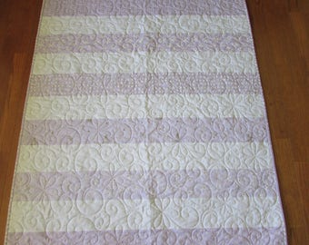Purple, Gold, White Stripe Baby Quilt
