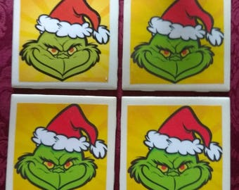Grinch Coasters (set of 4)