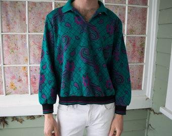 Vintage Teal Paisley Sweatshirt Hipster Sweater