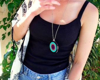 """Acrylic Laser Cut Necklace """"Round and Round"""""""