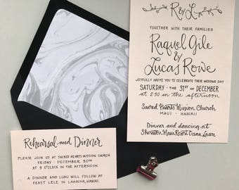 Blush Wedding Invitation / Blush Pink Wedding Invitation / Floral Wedding Invitation / Calligraphy Invitation / Calligraphy Wedding Invite