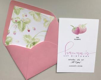 Sweet Strawberry First Birthday Invitation / Baby Girl Birthday Invitation / First Birthday Invitation / Birthday Party Invitation