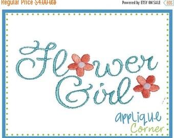 50% Off Flower Girl Wording applique digital design for embroidery machine by Applique Corner