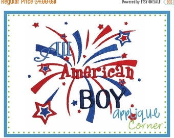 50% Off INSTANT DOWNLOAD All American Boy Patriotic design in digital format for embroidery machine by Applique Corner