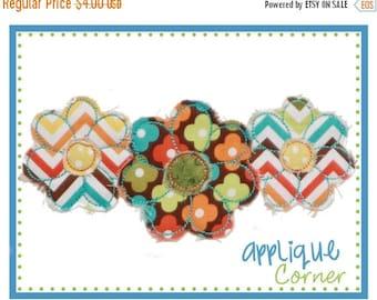 40% OFF 738 Flower Trio Raggy digital applique design for embroidery machine by Applique Corner